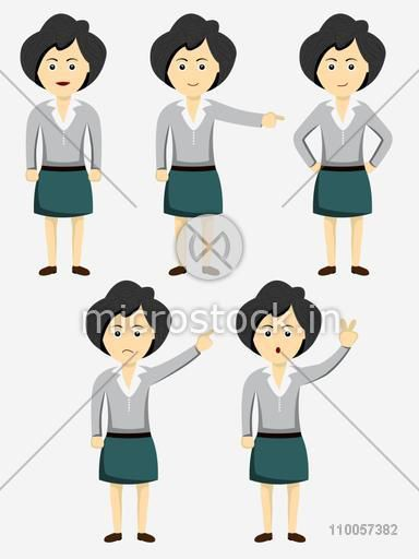 Character of a standing girl in different mood and hand position.