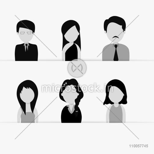 Set of six occupation characters with young business men and women on white background.