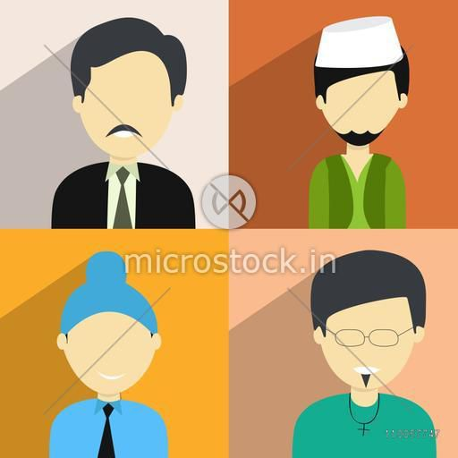 Set of four religion character with a Hindu man, Muslim man, Sikh boy and a Christian  boy on colorful background.