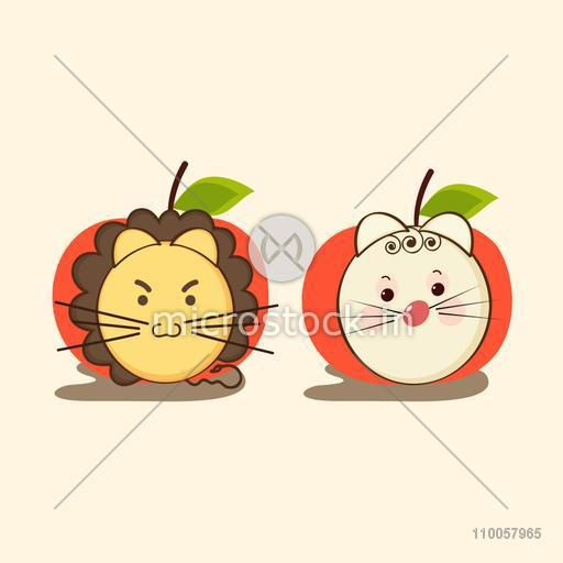 Character of a angry lion and sad rabbit  in apple shaped frame.