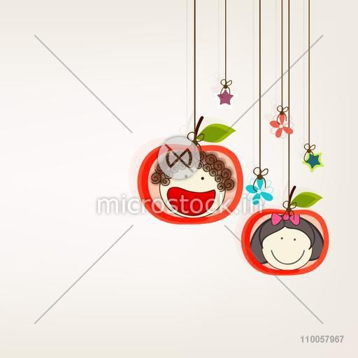 Character of one laughing and one smiling face in apple shaped frame hanging by a rope with flowers and stars.