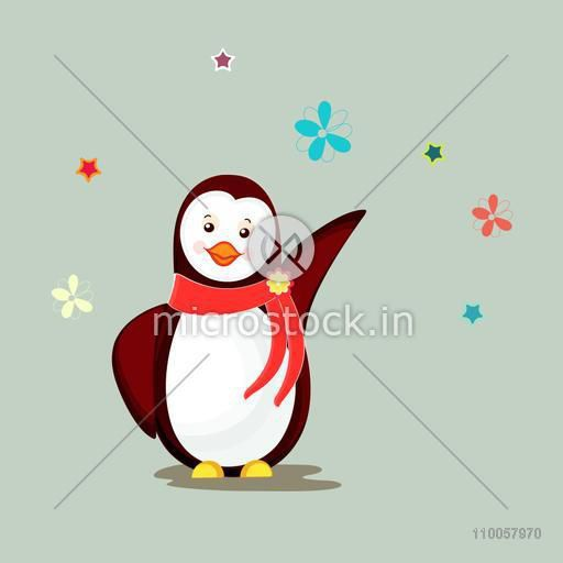 Character of  dancing and smiling  penguin wearing stylish red scarf with flowers and stars.