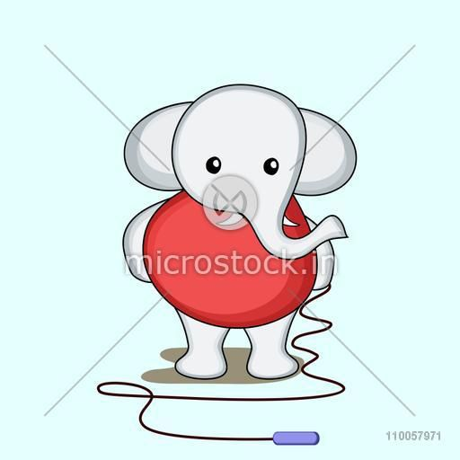 Character of a cute elephant wearing red human clothes and holding a skipping rope in hands.