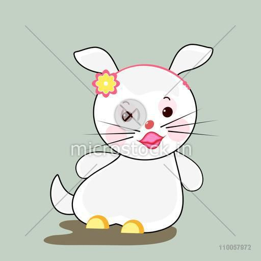 Character of a stylish white rabbit in happy mood wearing pink hair band on its head.