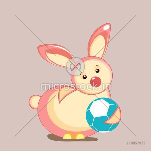 Character of rabbit in playing mood with a blue ball.