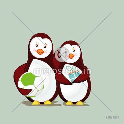 Character of two smiling penguin one with ball and one is holding a gift.