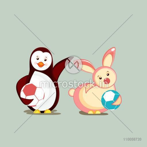Character of a dancing penguin and rabbit playing together.