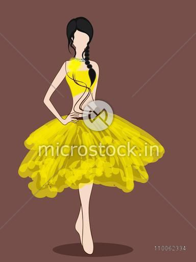 Standing pose of a young fashionable girl in stylish western dress on dark brown background.
