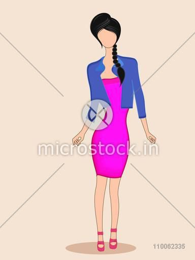 Young fashionable girl character wearing stylish western dress with sandals on beige background.
