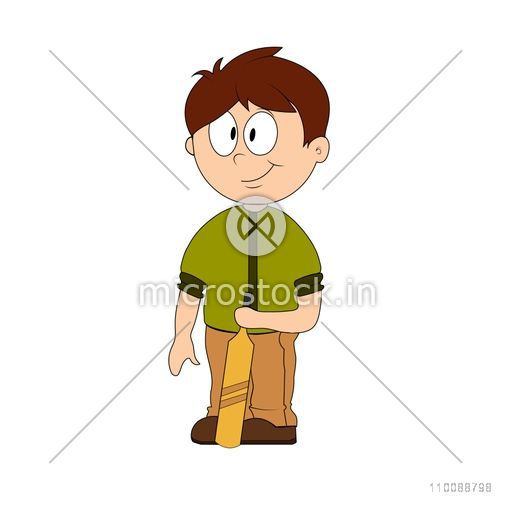 Cartoon character of a boy holding Cricket Bat.