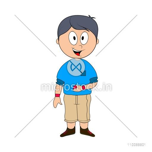 Character of cute happy boy holding Cricket Ball.
