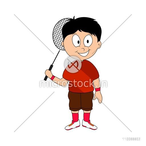 Character of a cute happy boy holding Badminton Racket.