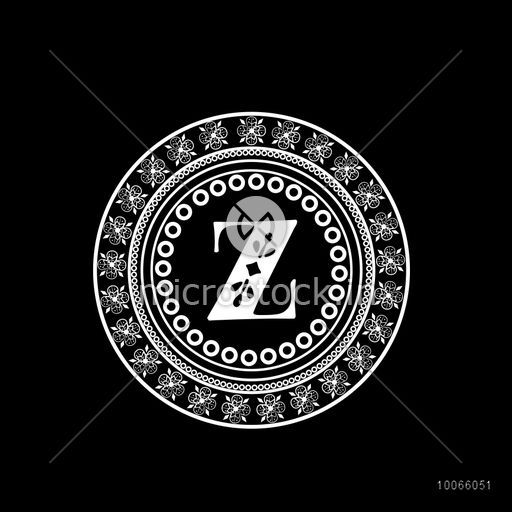Creative premium monogram design with English Alphabet Z in beautiful  floral frame on black background