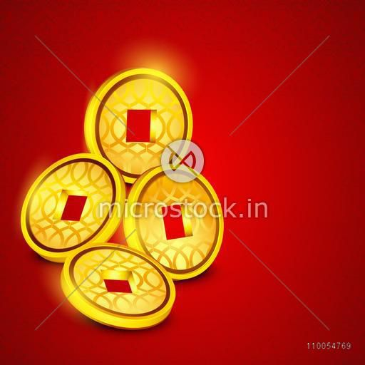 Shiny golden Chinese coins on bright red background.