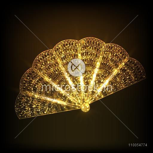 Sparkling golden traditional fan of China on stylish brown background.