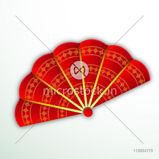 Beautiful traditional paper fan of China in red color with floral decoration.