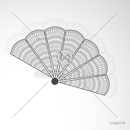 Beautiful floral design decorated paperfan of China in black and white on grey background