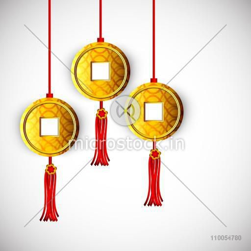 Stylish hanging coins of China in traditional way on grey background.