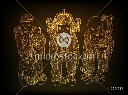 Three Chinese God in sparkling golden color on stylish brown background.