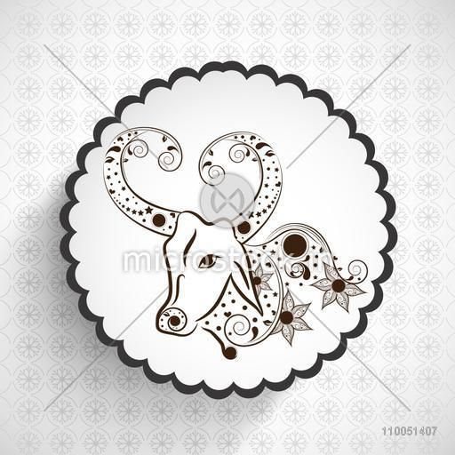 Floral decorated design of half cow in rounded frame for Taurus Zodiac sign.