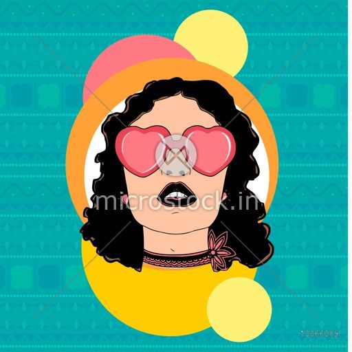 Retro young girl with heart shaped pink sunglassess on vintage background. Can be used as sticker, tag or label.