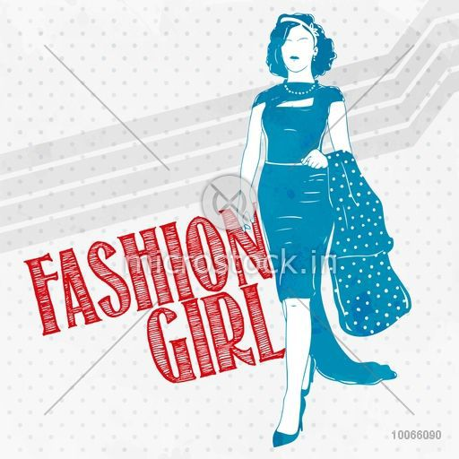 Young fashionable retro girl in stylish dress on vintage background.