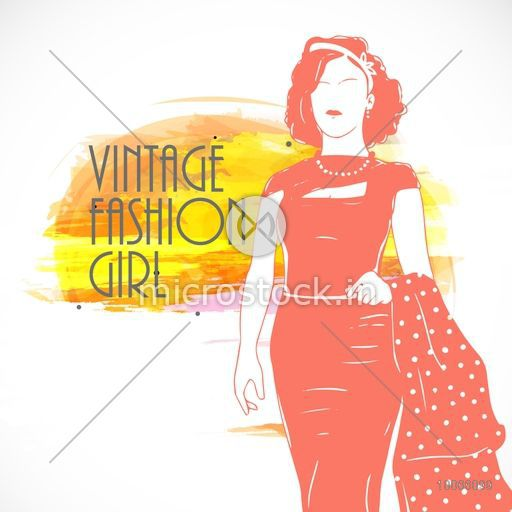 Vintage fashion girl on colorful splash background for Retro fashion collection.