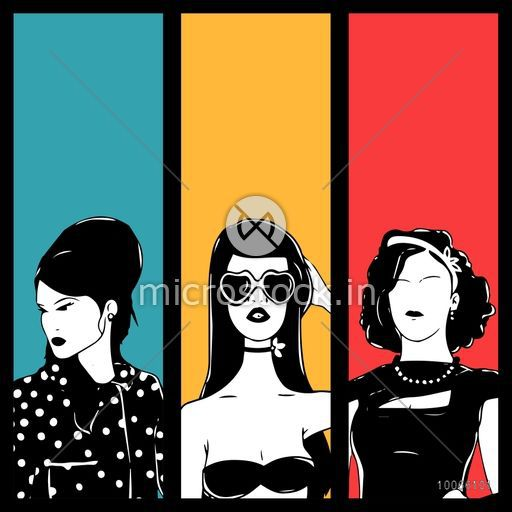 Retro fashion collection with illustration of young retro girl on vintage background.