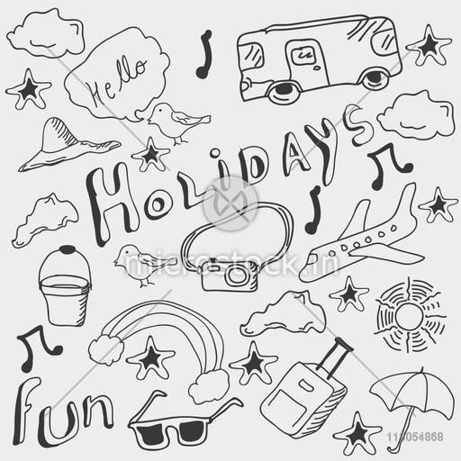 Set of different holiday doodles in black and white.