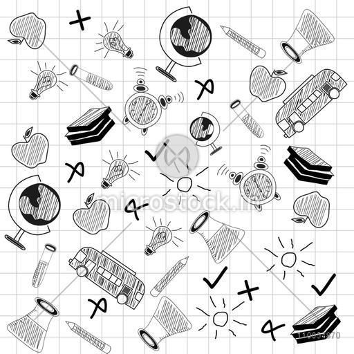 Set of science doodles on squared paper in black and white, seamless pattern.
