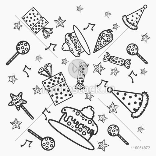 Happy Birthday doodles set on white background, seamless pattern.