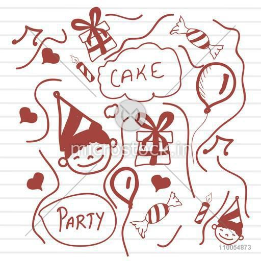Stylish doodle collection for Happy Birthday on notebook paper.