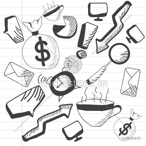 Set of different business doodles on notebook paper in black and white.