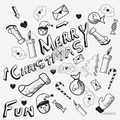 Stylish doodle set for Merry Christmas celebrations on grey background, seamless pattern.