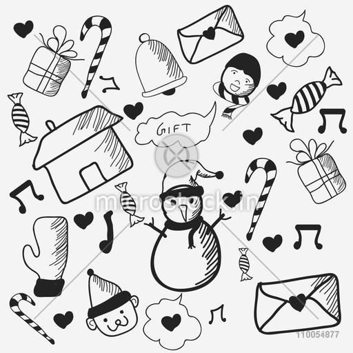 Black and white doodle set for Merry Christmas celebrations, seamless pattern.