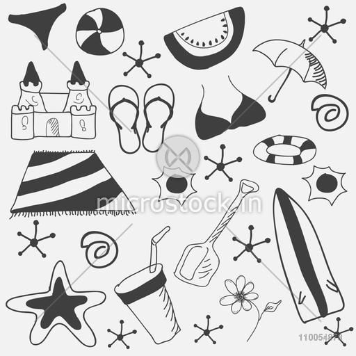 Summer vacations doodle set on grey background, seamless pattern.