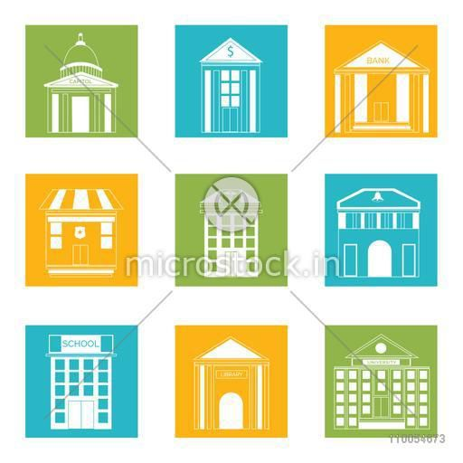 Set of nine colorful web icons for house and buildings on white background.