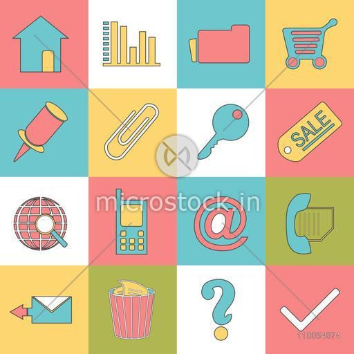 Set of web business icons on colorful background.