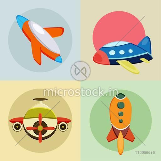 Set of four web icons for airplane on colorful background.