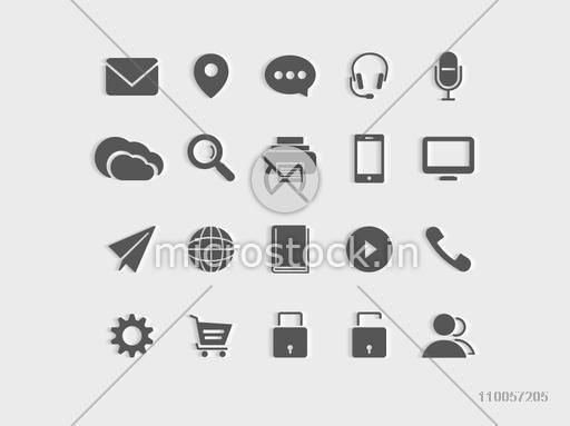 Collection of web 2.0 mail and networking icons for your business.