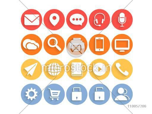 Colorful set of web 2.0 mail and networking icons for your business.