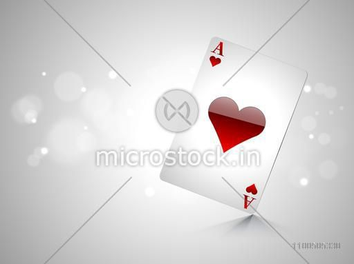 Glossy playing card ace on shiny grey background.