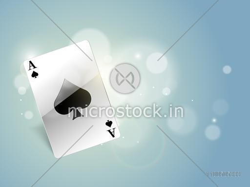 Stylish playing card ace for casino concept on shiny blue background.