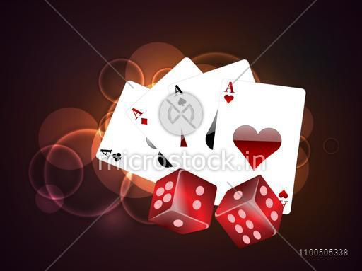 Set of playing cards ace and red dices on stylish colorful background.