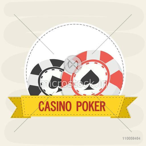 3D Casino chips with yellow ribbon, can be used as sticker, tag or label design.