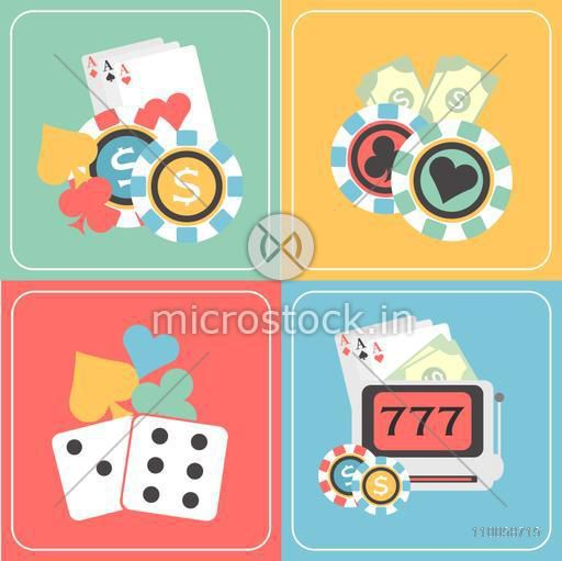 Colorful set of Casino elements with playing cards, cards symbols, poker chips and slot machine.