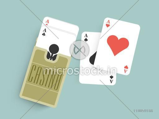 Deck of ace playing cards for Casino on blue background.