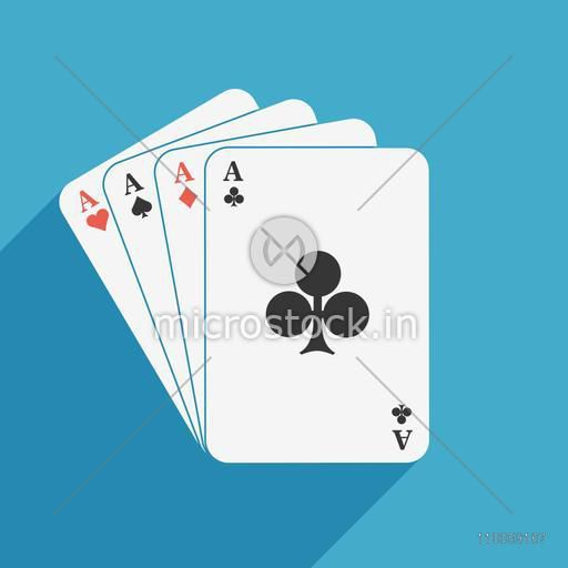 Ace playing cards on blue background.