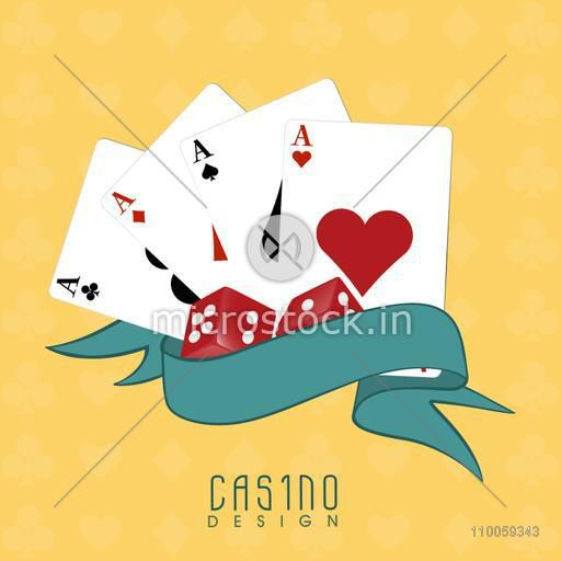 Ace cards with red dices and blank ribbon for Casino on yellow background.