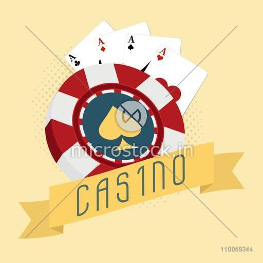 3D Casino chip with ace playing cards on yellow background.